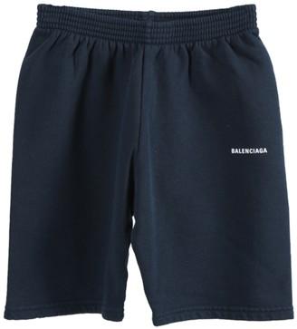 Balenciaga Kids Navy Logo Cotton Shorts