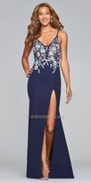Faviana Floral Embroidered High Slit Column Prom Dress