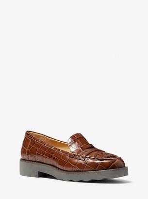 MICHAEL Michael Kors Alberta Crocodile-Embossed Leather Kiltie Loafer