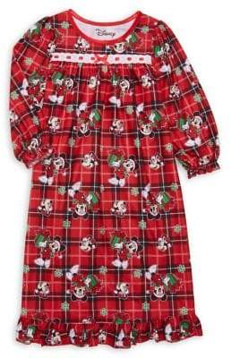 AME Sleepwear Little Girl's Disney Minnie Mouse Plaid Night Dress