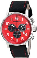 Wenger Commando Chrono Men's Quartz Watch with Red Dial Chronograph Display and Black Leather Strap 011243103