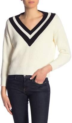 CODEXMODE Double Stripe V-Neck Sweater