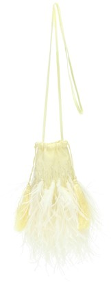 ATTICO Feather-trimmed embellished pouch