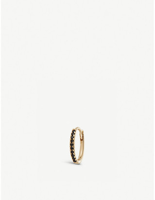 Selfridges 9ct Gold And Onyx Mini Oval Hoop Earring
