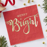 Ginger Ray Gold Foiled Merry And Bright Paper Napkins Red And Gold