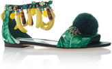 Dolce & Gabbana Banana and Palm Embroidered Sandals