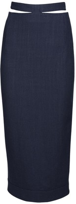 Jacquemus Viscose & Linen Pencil Midi Skirt