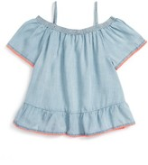 Girl's Love, Fire Off The Shoulder Chambray Top