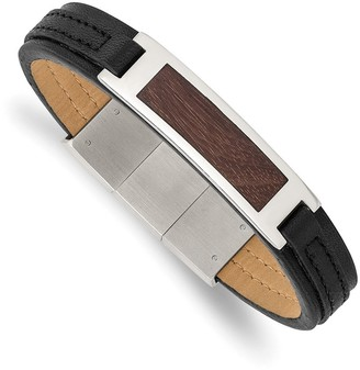 Chisel Stainless Steel Polished with Wood Inlay Black Leather with .5 Inch Extension Bracelet