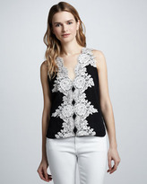 Robert Rodriguez Lace-Applique Silk Top