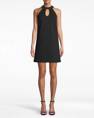 Nicole Miller Ponte Nailhead Keyhole Dress
