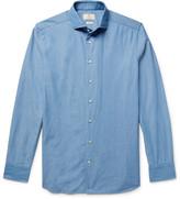Hackett Slim-Fit Cutaway-Collar Textured-Cotton Shirt