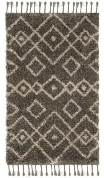 Safavieh Moroccan Fringe Shag Gray and Cream 3' X 5' Area Rug