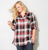 Avenue Red Plaid Tunic Shirt
