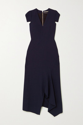 Roland Mouret Kinglake Asymmetric Crepe Midi Dress - Navy