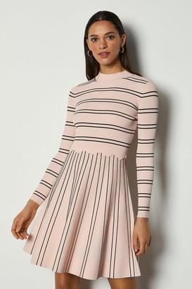 Karen Millen Stripe Scallop Knit Dress