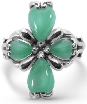 Carolyn Pollack Green Jade Cross Ring in Sterling Silver