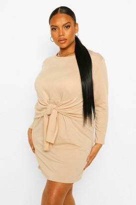 boohoo Plus Tie Front Jersey Wrap Dress
