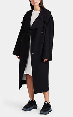 Yohji Yamamoto Regulation Women's Wool-Blend Double-Breasted Coat - Black