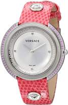 "Versace Women's VA707 0013 ""Thea"" Sapphire and Diamond-Accented Stainless Steel Watch with Pink Leather Band"