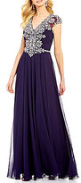 Lasting Moments V-Neck Beaded Bodice Cap Sleeve Gown