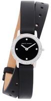 Rebecca Minkoff Major Silver Tone Black Vegan Leather Strap Watch, 22mm