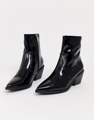 Glamorous black patent western sock boots