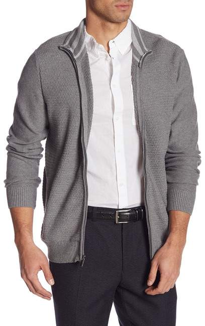 Calvin Klein Mock Neck Full Zip Sweater