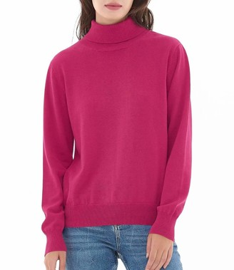 QUALFORT Women's Black Turtleneck Sweater Pullover Lightweight Soft Knitted Sweaters Tops for Women X-Large