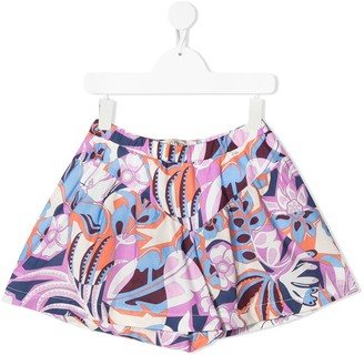 Emilio Pucci Junior TEEN abstract print flared shorts