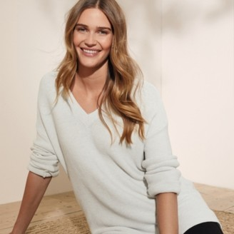 The White Company Side-Split V-Neck Jumper, Cloud Marl, Small