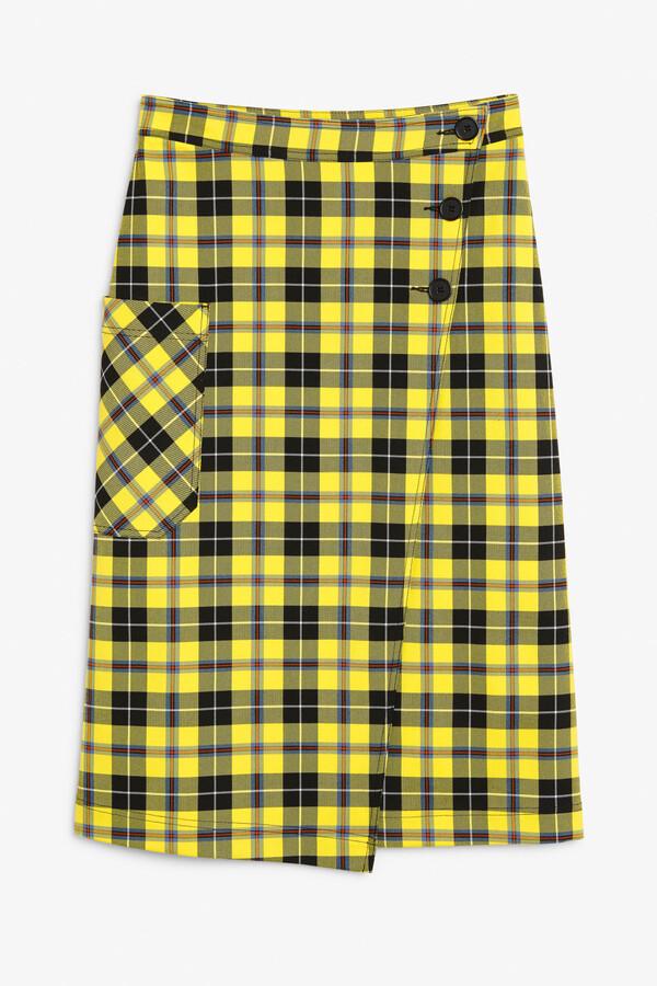 Monki Buttoned wrap skirt