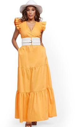 New York & Co. Petite Orange Ruffle-Sleeve Poplin Maxi Dress