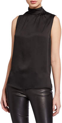 Misook High-Neck Crepe Tank Top