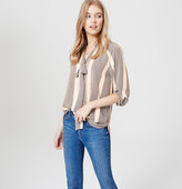 LOFT Striped Tie Neck Blouse