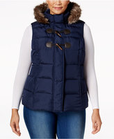 Charter Club Plus Size Faux-Fur-Trim Puffer Vest, Only at Macy's