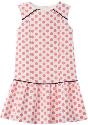 Oscar de la Renta Dots On Tweed Drop Waist Dress