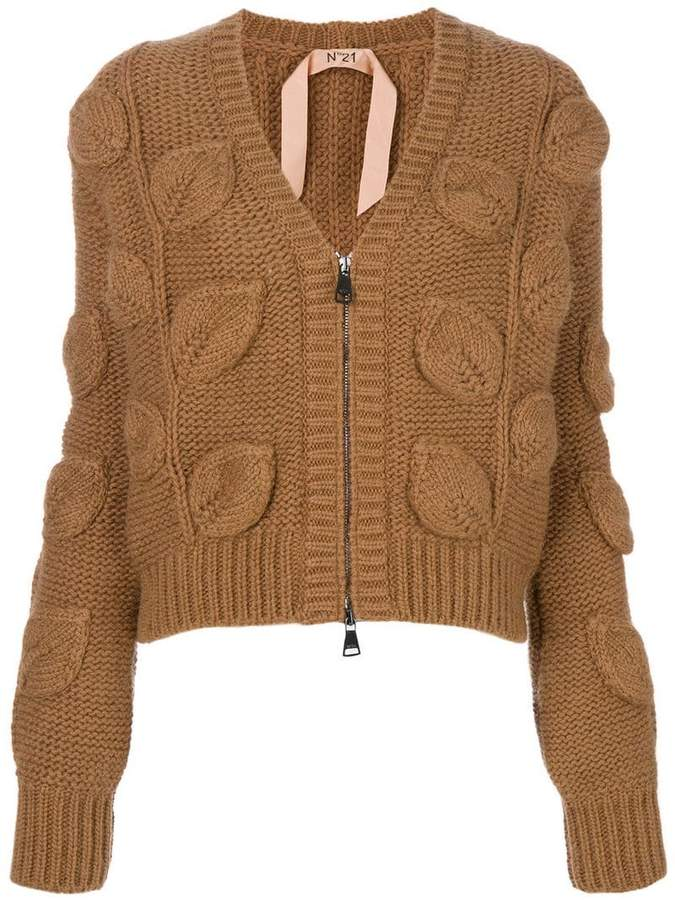 No.21 V-neck leaf knit cardigan