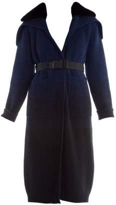 Fendi Mink Collar Ombre Cashmere & Wool Duster Cardigan