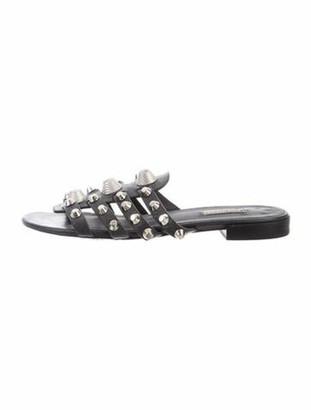 Balenciaga Leather Studded Accents Slides Grey