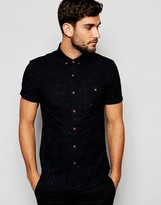 Asos Oxford Short Sleeve Shirt With Neps In Regular Fit