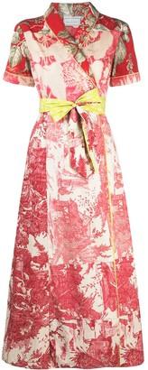 Pierre Louis Mascia Waist-Tie Floral-Print Maxi Dress