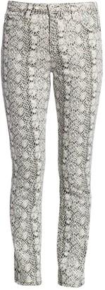 AG Jeans Mari Snakeskin High-Rise Straight Jeans
