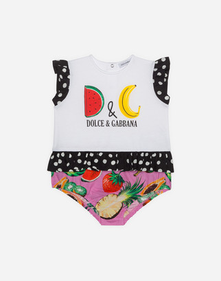 Dolce & Gabbana Romper Suit In Poplin And Jersey With Fruit Print