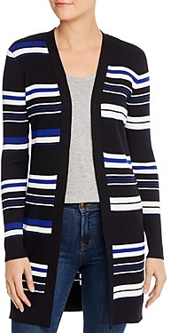 Calvin Klein Striped & Ribbed Open-Front Cardigan