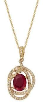 Effy 14K Yellow Gold, Ruby & Diamond Pendant Necklace