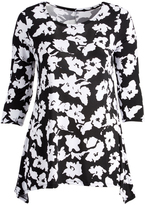 Glam Black & White Floral Sidetail Top - Plus