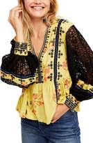 Free People Boogie All Night Lace Sleeve Blouse