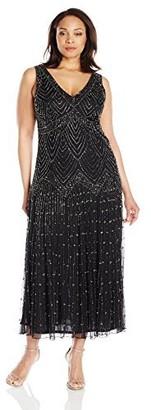 Pisarro Nights Women's Plus Size Long Chevron Motif Beaded Dress
