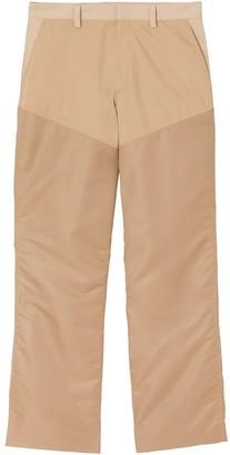Burberry Nylon Panel Cotton Blend Wide-leg Trousers